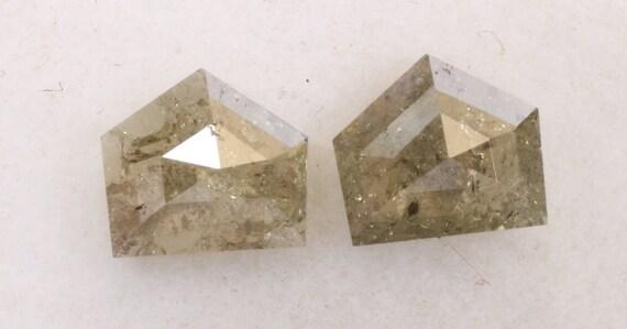 0,74 ct naturel lâche sel et poivre diamant gris couleur Pentagone forment diamant poivre paire R2158 7b286a