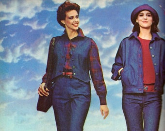 1983 Halston 3 J.C. Penney Shanti Patty Owen 2-Pg Vintage Fashion Models Jacki Adams Dalma Donna Elizabeta Print Ad Vogue Magazine 1980s