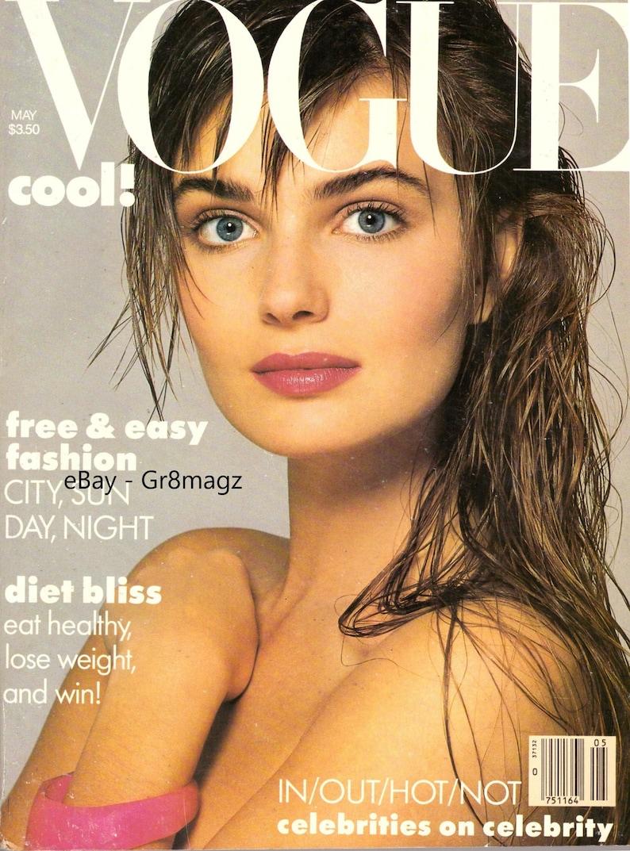 1986 Vogue Fashion Magazine Paulina Porizkova Cindy Crawford Swimsuits  Georgia O'Keeffe Diandra Douglas Whitney Houston Vienna Vintage 1980s