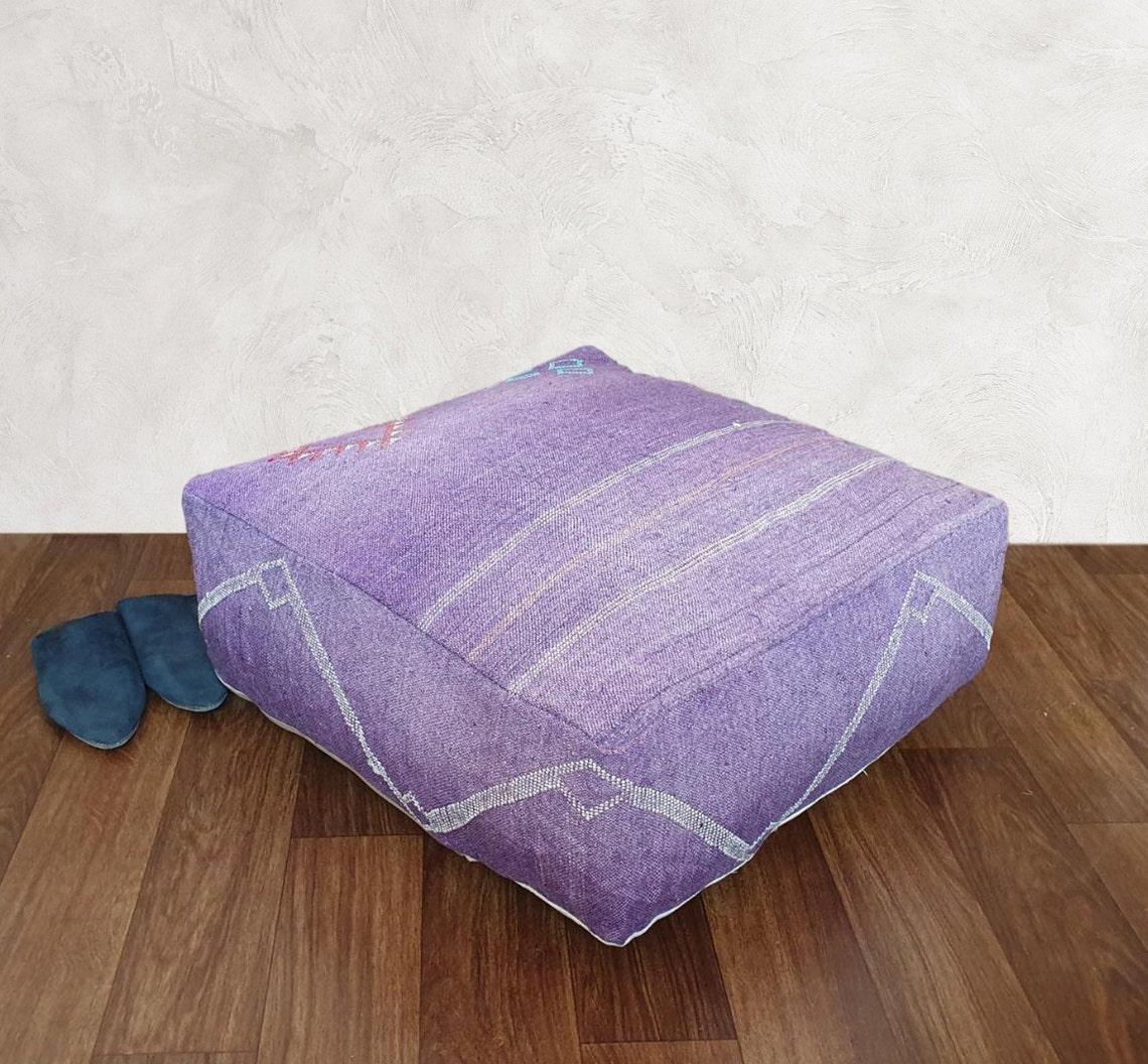 Moroccan Sabra Cactus Silk Floor Pouf Cover, Handwoven cactus silk cushions, moroccan Floor Pillow Cactus Silk,Decorative Throw Pillows, 01