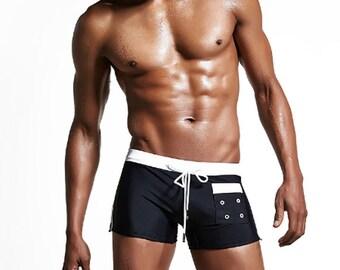 Black White Striped Drawstring Pocket Trunk Brief Speedo Swimwear