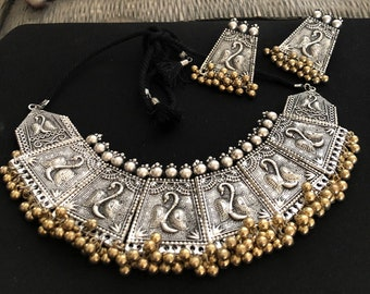 Indian Women Silver Oxidized Peacock Necklace Set Fashion Jewelry Wedding Gift Jewellery & Watches Sets