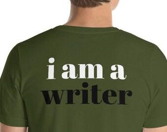 I Am a Writer (Reverse printed, mirror readable)   Short-Sleeve Unisex T-Shirt
