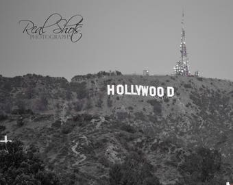 Classic B&W shot of the Iconic HOLLYWOOD sign in Hollywood, CA