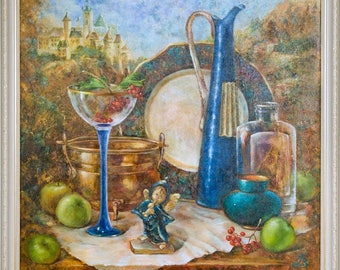 still life painting, fruit, jug, dish