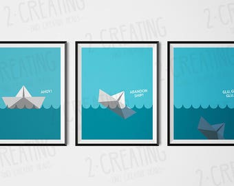 Origami paper boat poster Print - size A3/A4 art