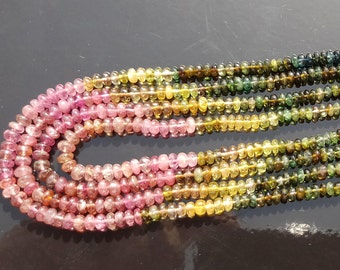 Pink Sage Green Blue Multicolor Gem Watermelon Tourmaline 3.5-4mm SMOOTH Rondelle Beads full 17-18 inch of 4 strand October birthston (MTB4)
