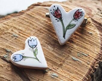 Heart brooch, Ceramic brooch, Boho brooch, Blue flower heart brooch, Boho jewelry, Floral brooch, Flower brooch