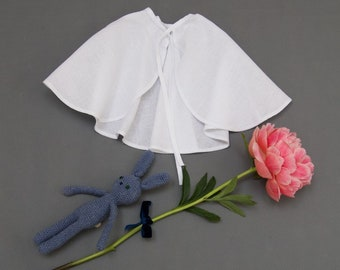 Baby Christening Cape, Full Circle Cloak, Linen Cape, Pelerine