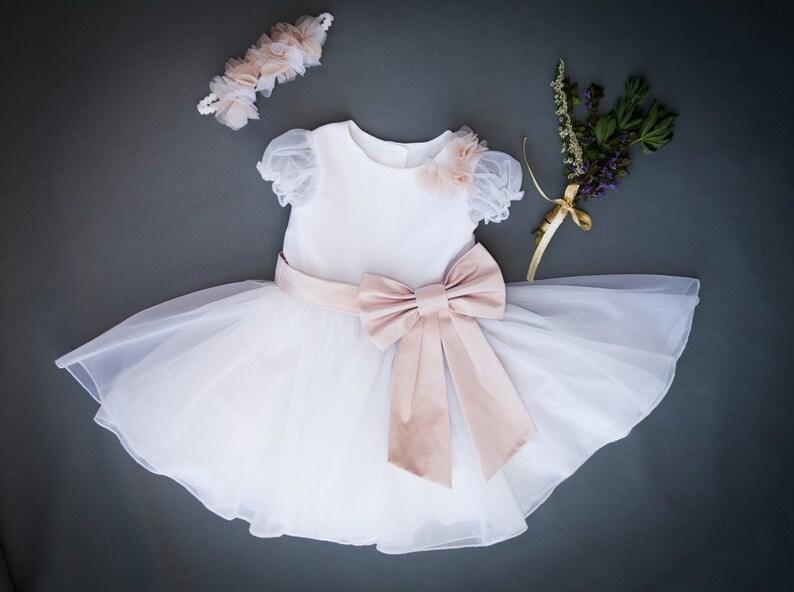 eef07d3e91d Baptism Dress Wedding dress Big Bow Dress for Girl