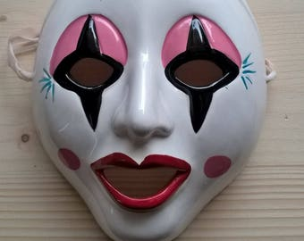 Hand Painted terracotta decorative mask made in Italy clown