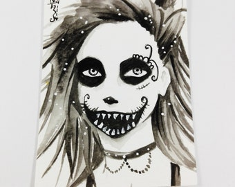Original artwork KAKAO Aceo Watercolor Trading Card Manga Anime colorful playful signed by artist No. 160 Halloween