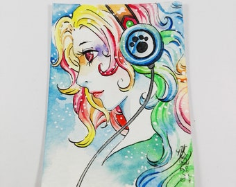 Original artwork KAKAO Aceo Watercolor Trading Card Manga Anime colorful playful signed by artist No. 179