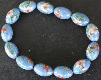 Ceramic Beaded Bracelet - Floral - Gold Trim