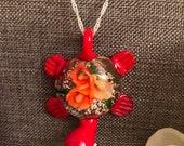 Turtle Lamp Work Pendant Necklace