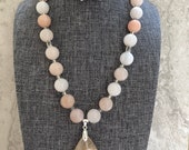 Natural Agate of Cherry Blossoms Teardrop Pendant and Pink Aventurine Beads Necklace with Matching Earrings Set