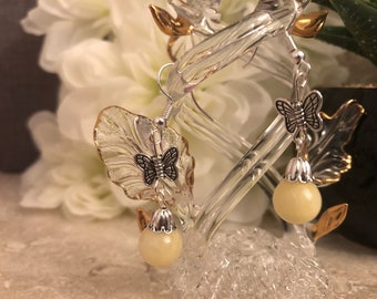 Yellow Dyed Quartzite Stone Earrings with Tibetan Butterfly