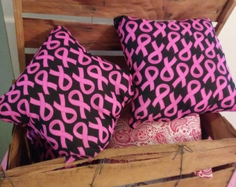 """Breast Cancer Awareness Pink and Black Ready to Ship Handmade Indoor Accent Pillows (15"""" x 15"""")"""