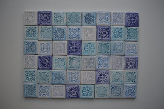 Set Of 48 Small Blue Tiles Handmade Tiles Mandala Tiles Etsy