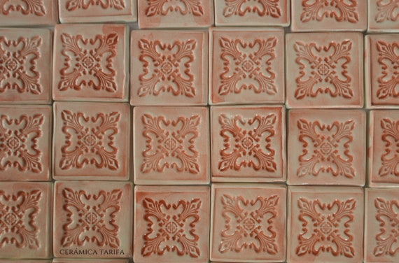 30 Ceramic handmade tiles red salmon, ceramic mural, kitchen tiles, shower  tiles, pool tiles, artistic tiles, red spanish tile, personalized