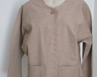 Handmade,Hand Sewn,Womens Jacket,Beige Jacket,Cardigan,Unique,Beige,Kimono, Kimono Jacket,Pockets,Birthday,Gift for Her,Jackets for Women