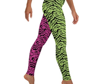 80s Costume Fall Fun Leggings, Retro Pop Star, Cosplay Animal Print pants, Halloween Party 80s fashion throwback