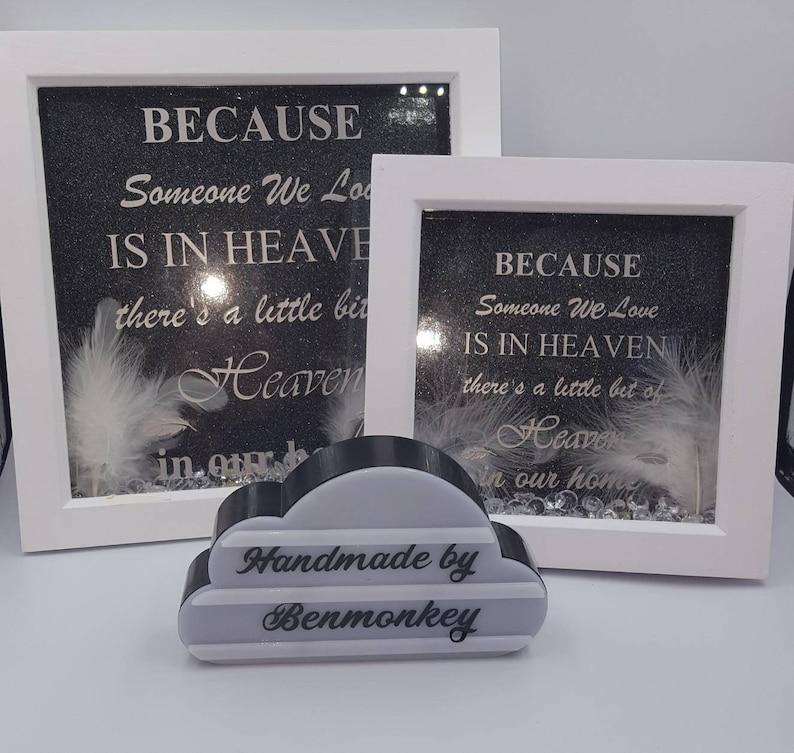 Handmade Personalised Box Frame Feather Angel Wings Heaven Memorial Baby