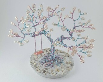 Colorful Wire Tree, Wire Tree of Life, Beaded Tree Sculpture with Swing, Mother's  Day Gift
