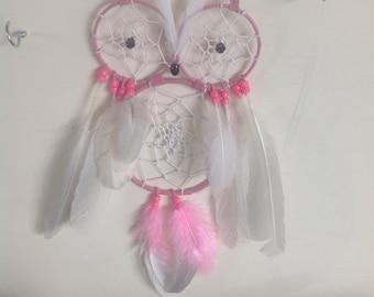 Pink owl dream catcher