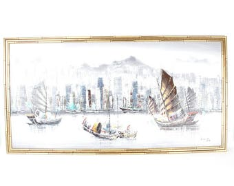 Original Large Impressionist Chinese Junk Boat Painting