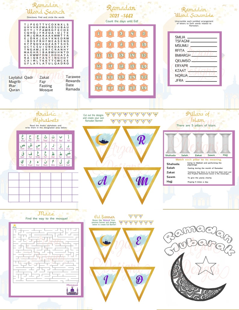 Printable Ramadan Activity Book for Kids 13 pages INSTANT image 0