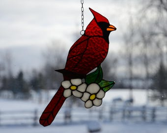 Stained Glass Cardinal Sun Catcher