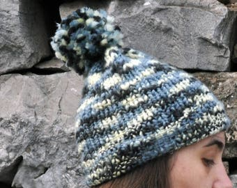 Hat with pom pom-knitted crochet