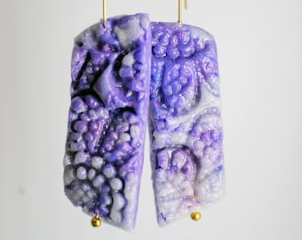 Purple cutouts-long rectangular earrings