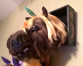 Brown shaggy / fluffy unicorn taxidermy wall decor/