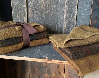 3/4 yd PRIMITIVE GOLD - BROWN Wool Stack - Washed - Premium Mill-Dyed Wool