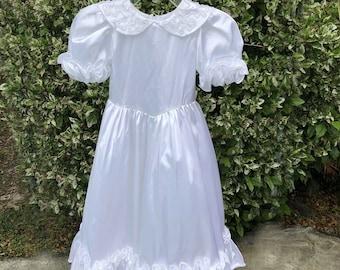 a616992133c anni 1990 vintage fatti a mano fiore ragazza vestito taglia 5-6 bambino  matrimonio prima comunione bianco abito formale