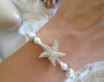 Wedding bracelet,Starfish Beach wedding bracelet,Beach wedding bracelet,Bridal jewelry,Bridesmaid gift,Wedding jewelry,Mother Of The Bride
