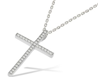 Silver Cross Necklace Pendant with CZ Diamond Crystals Jewellery Gifts for  her Platinum Finished 6602d4a59328