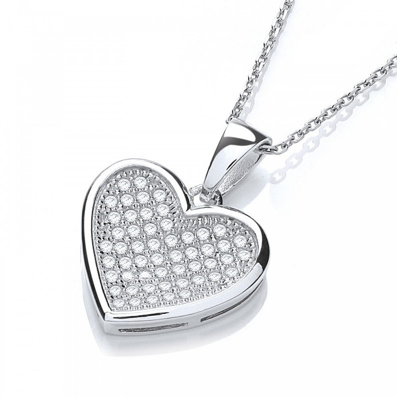 Hexyo 925 Sterling Silver Pendant Created Diamond pave CZ Crystal Platinum Plated Ladies Woman Wedding Necklace Christmas Gift for Women
