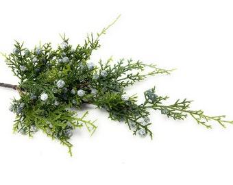 "20"" Artificial Juniper Spray/Stem/Pick/Vase Filler-Christmas/Winter Greenery-Holiday Home Decor-Artificial Evergreen Floral Supply"