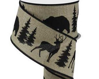 9 feet 3//8 inch Brown Woodland Deer Canvas Ribbon
