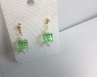Light green glass cube earrings
