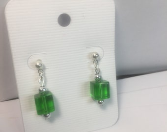 Green glass cube earrings