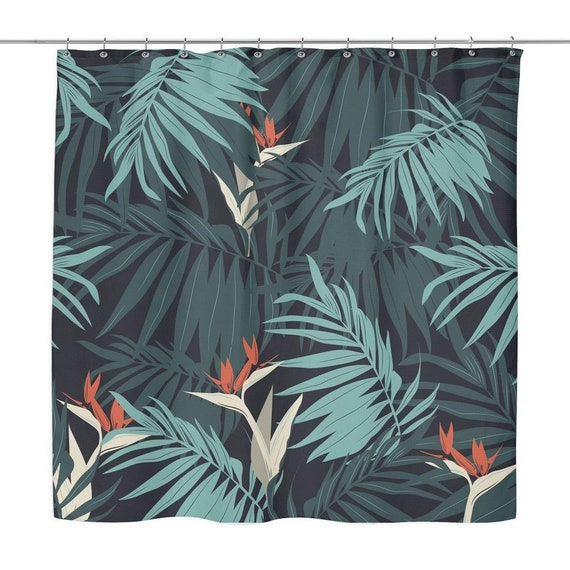 Tropical Jungle Print Shower Curtain Green Palm Leaves Etsy So very pleased with the quality of this product. etsy