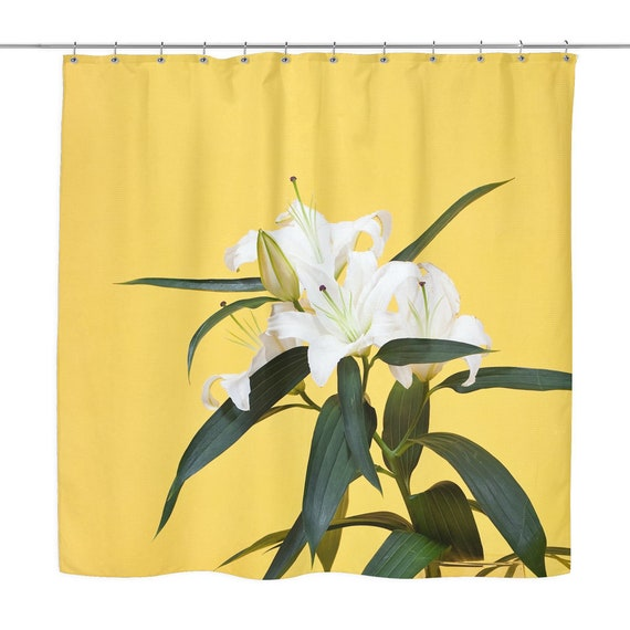 Lily Shower Curtain White Flower On Yellow Background