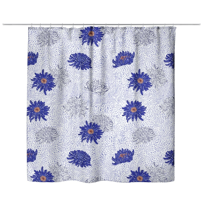 Blue Chrysanthemum Flowers Shower Curtain Flower Bath Curtain Pretty Dorm Bathroom Decor Navy Floral Shower Curtains