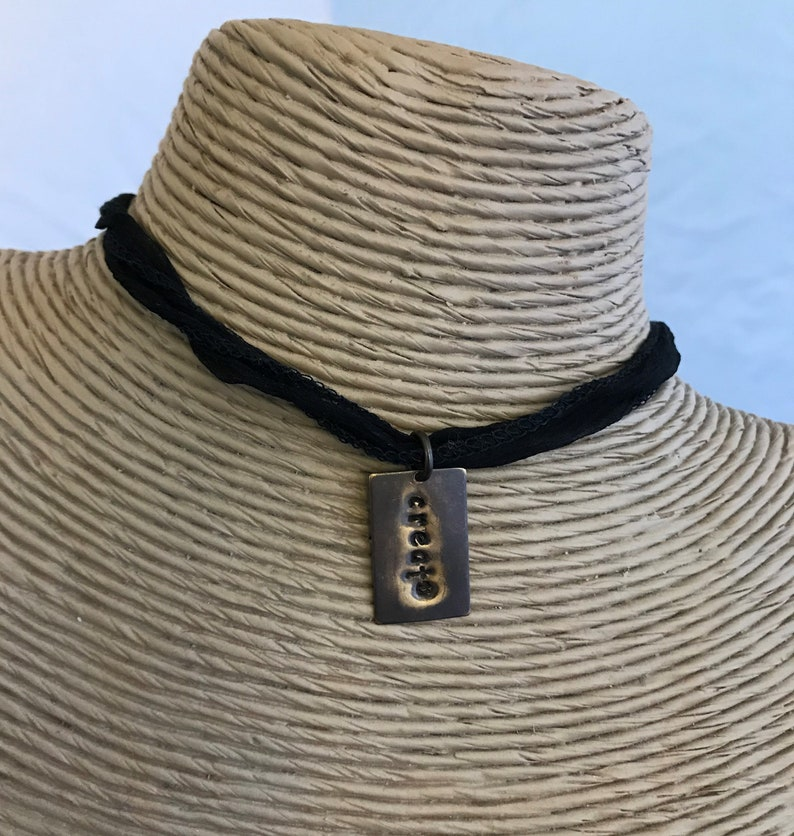 Brass Metal Stamped Pendant Adjustable Create Choker Necklace Create Brass Necklace on Black Silk Fabric Length 36 Inches Long
