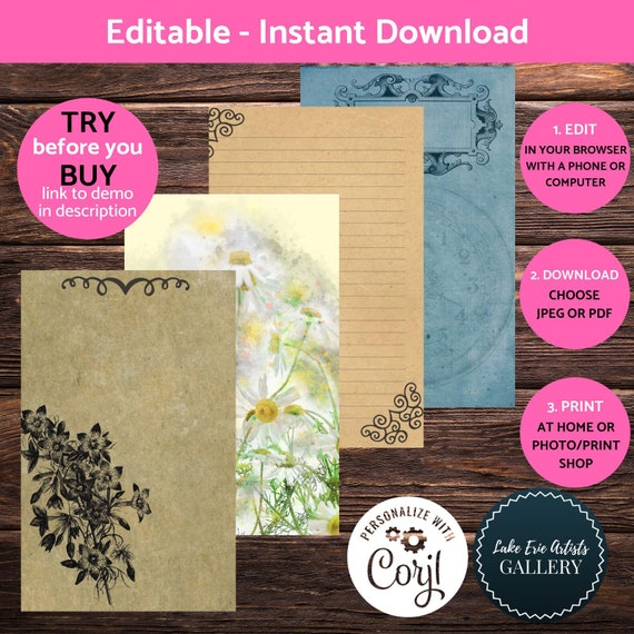 Printable Vintage Journal Pages