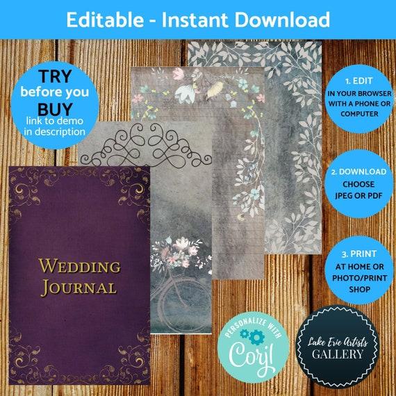 Printable Wedding Journal Kit